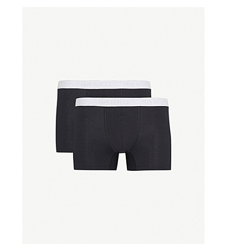 HANRO two trunks Essentials of Cotton stretch grey Black cotton set rwRr0x