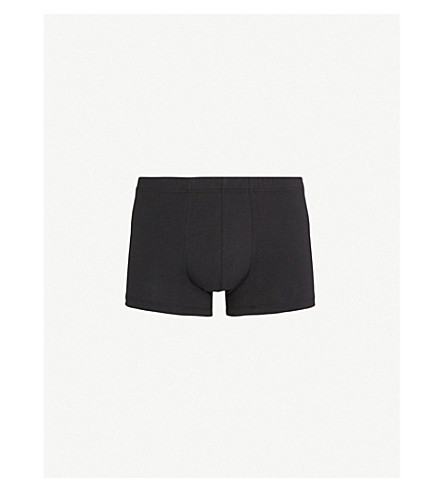 HANRO Elasticated stretch-cotton trunks (Black