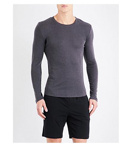 HANRO Crewneck silk and cashmere-blend top (Dk+navy