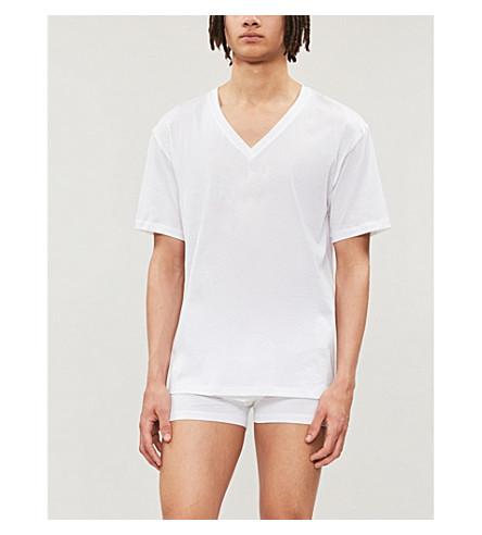 HANRO V 领棉 t-shirt (白色