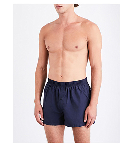HANRO Pack of two relaxed-fit cotton-woven boxers (Blue+navy