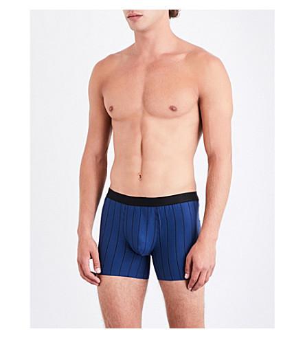 HANRO Striped slim-fit stretch-cotton trunks (Brt+blue