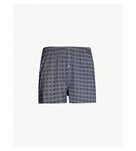 HANRO Paisley-print regular-fit stretch-cotton trunks (Navy
