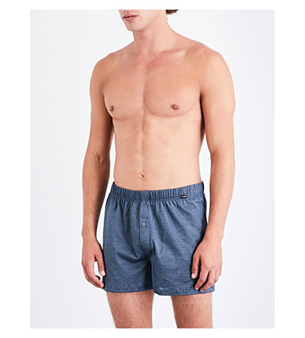 HANRO Striped relaxed-fit cotton-jersey boxers (Blue