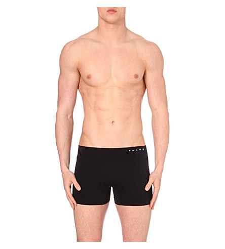 FALKE Branded stretch-jersey trunks (Black