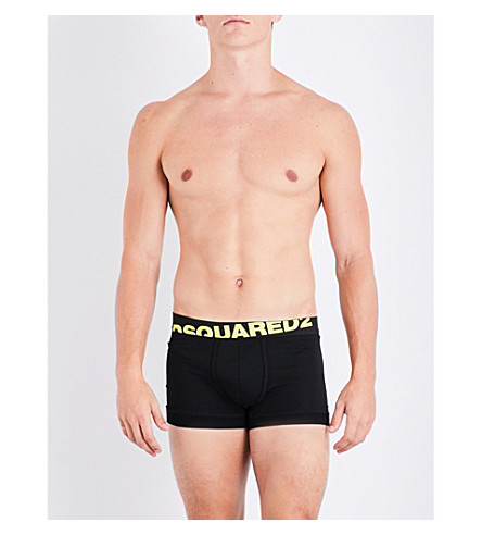 DSQUARED2 Neon logo stretch-cotton trunks (Blk+yellow