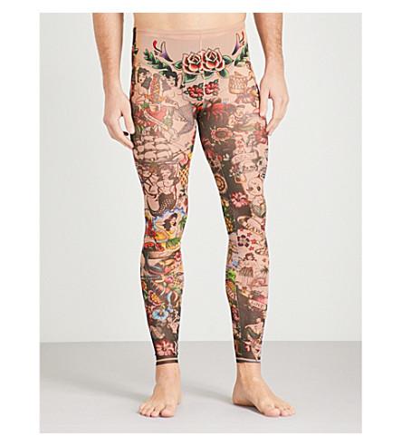 DSQUARED2 Tattoo-print mesh leggings (Multi