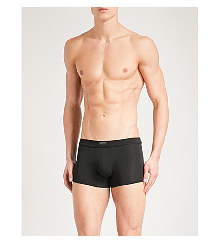 ERMENEGILDO ZEGNA Solid slim-fit jersey trunks (Black