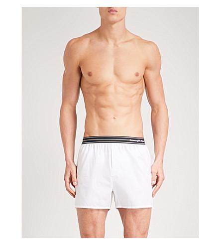 ERMENEGILDO ZEGNA Solid relaxed-fit cotton-poplin boxer shorts (White
