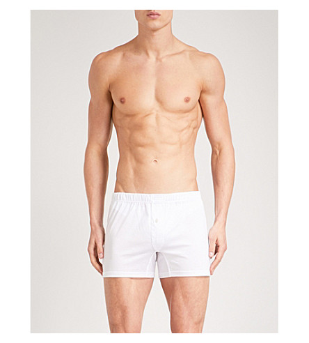 ERMENEGILDO ZEGNA Solid relaxed-fit cotton-jersey trunks (White