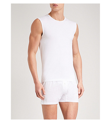 ERMENEGILDO ZEGNA Solid stretch-cotton pyjama vest (White