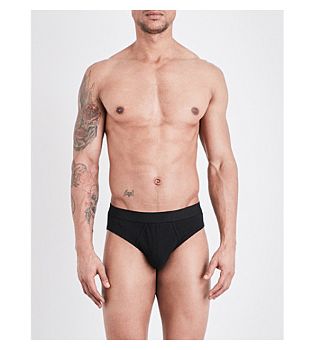 ERMENEGILDO ZEGNA Stretch-jersey briefs two pack (Black