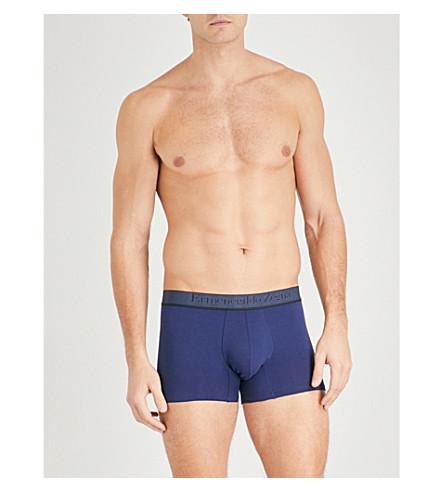 ERMENEGILDO ZEGNA Herringbone-waistband slim-fit stretch-cotton boxer shorts (Blue