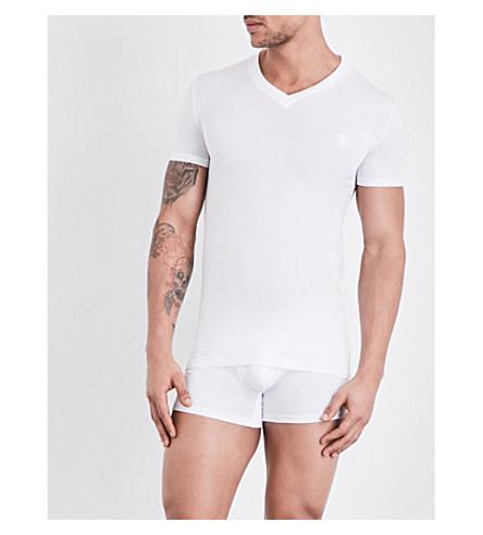 ERMENEGILDO ZEGNA V-neck stretch-jersey t-shirt (White