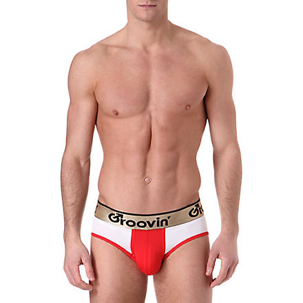 GROOVIN' Bold-Line sports jock (White/red