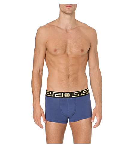 VERSACE Iconic low-rise trunks (Blue/gold