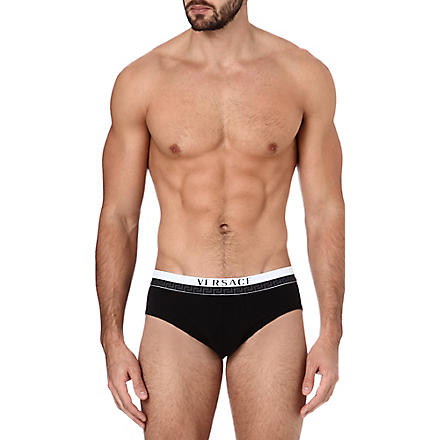 VERSACE Pack of two Basic stretch-cotton briefs (Black