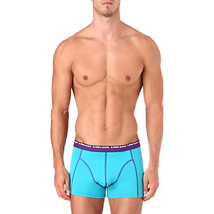BJORN BORG Pack of three stretch-cotton trunks (Bluebird