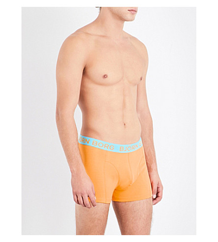 BJORN BORG Pack of two stretch-cotton boxer trunks (Gold+brt+blue