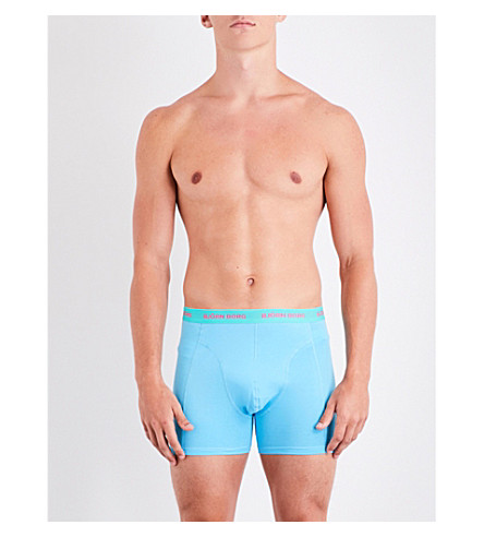 BJORN BORG Pack of three Bright Solid perfect-fit stretch-cotton trunks (Blue+trq+orng