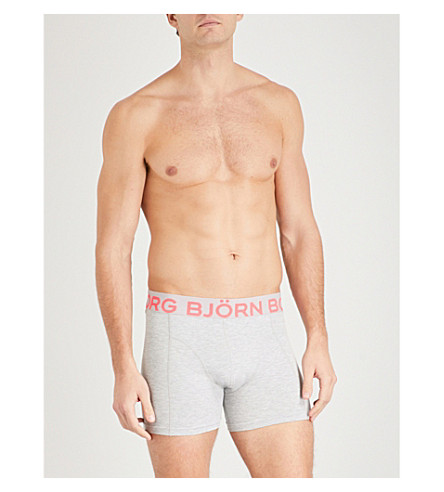 BJORN BORG Pack of two perfect-fit stretch-cotton trunks (Grey+navy