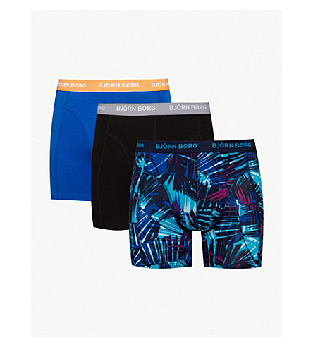 BJORN BORG Pack of three classic-fit stretch-cotton boxer briefs (Blues