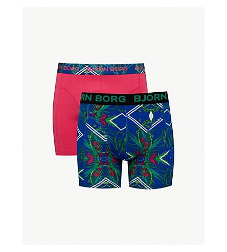 BJORN BORG Pack of two floral diamond classic-fit stretch-cotton boxer briefs (Blue+pink+orange