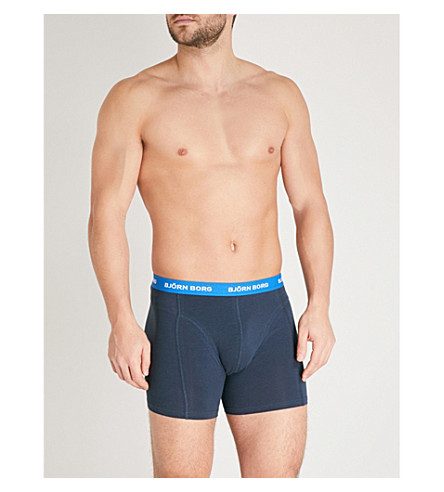 BJORN BORG Pack of three stretch-cotton trunks (Navy+blue+red