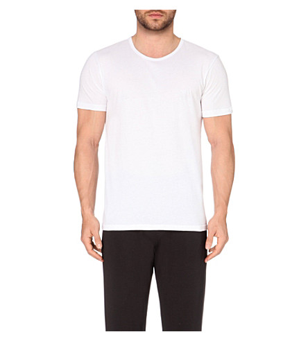 EMPORIO ARMANI Pack of three plain cotton-jersey t-shirts (White