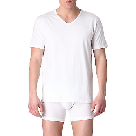 EMPORIO ARMANI Pack of three plain cotton t-shirts (White