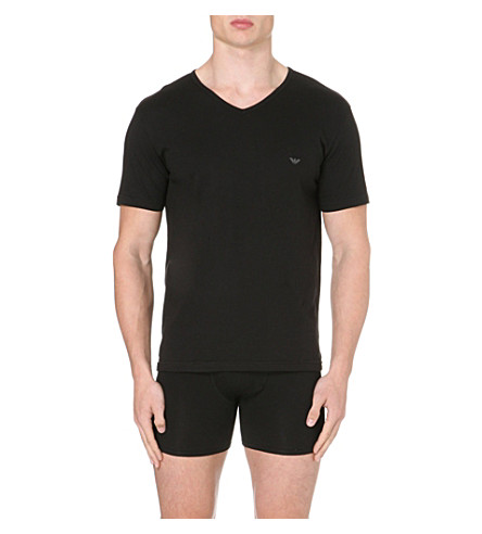 EMPORIO ARMANI Pack of three plain cotton t-shirts (Black