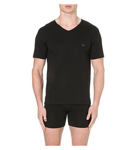 EMPORIO ARMANI Pack of three plain cotton t-shirts (Black