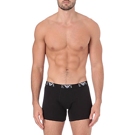 EMPORIO ARMANI Three-pack long trunks (Black