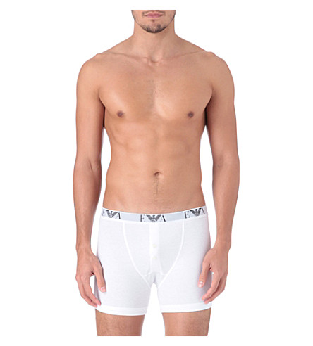 EMPORIO ARMANI Pack of three button-fly trunks (White