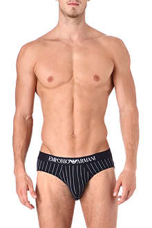 ARMANI Two pack of striped and plain briefs