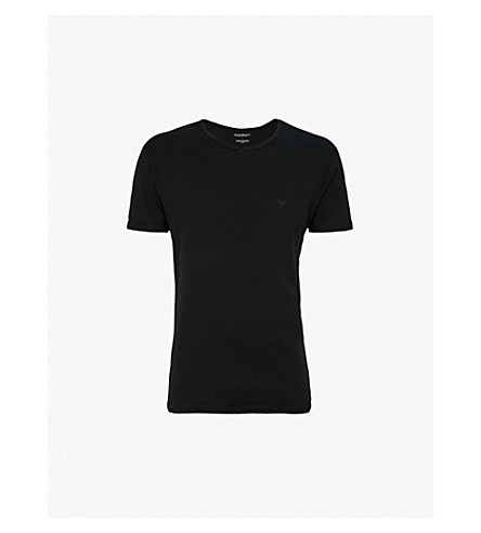 EMPORIO ARMANI Crewneck cotton-jersey T-shirts pack of two (Black