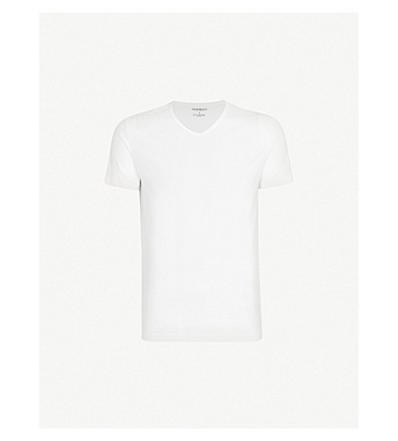 EMPORIO ARMANI Pack of two v-neck cotton-jersey t-shirts (White