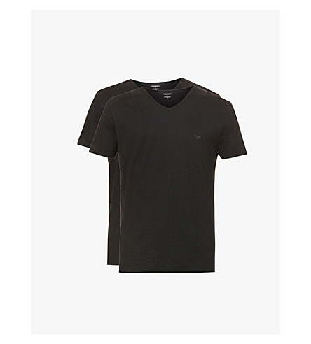 EMPORIO ARMANI Pack of two v-neck cotton-jersey t-shirts (Black
