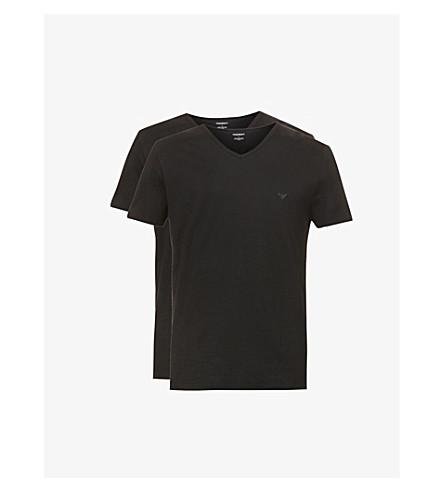 EMPORIO ARMANI 两件装 V领平纹针织棉 t恤衫 (黑色