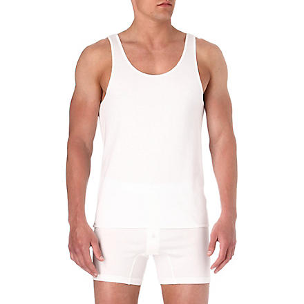 THE WHITE BRIEFS Rye singlet vest (White