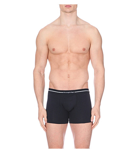 ZEGNA Branded stretch-cotton trunks pack of two (Black