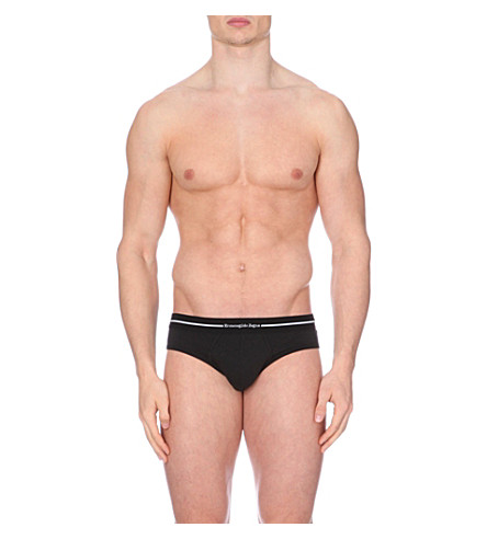 ZEGNA Branded stretch-cotton briefs pack of two (Black