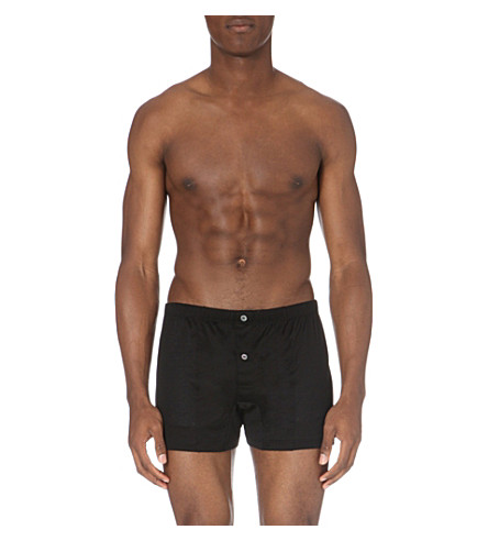 LA PERLA Button-down regular-fit stretch-cotton trunks (Black
