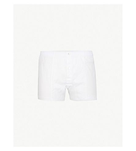 LA PERLA Button-down regular-fit stretch-cotton trunks (White