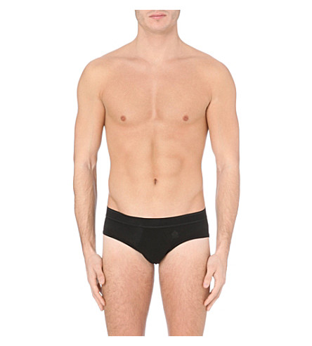 LA PERLA Branded cotton briefs (Black