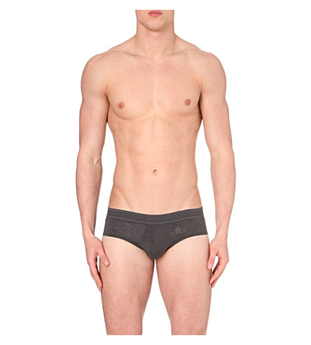LA PERLA Branded cotton briefs (Grey