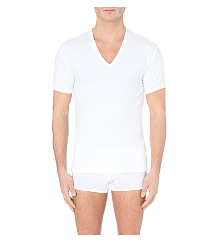 LA PERLA V-neck cotton t-shirt (White