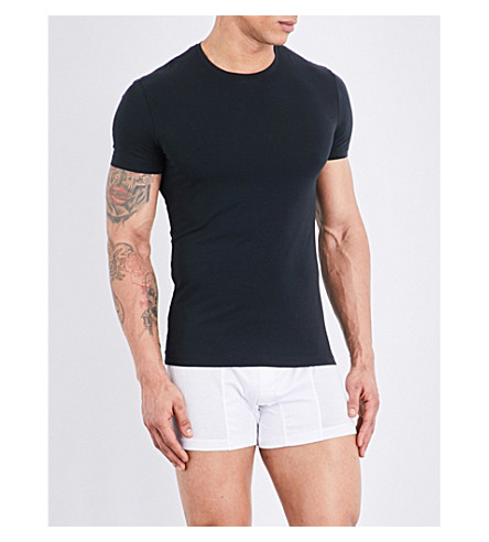 LA PERLA Seamless stretch-cotton T-shirt (Black