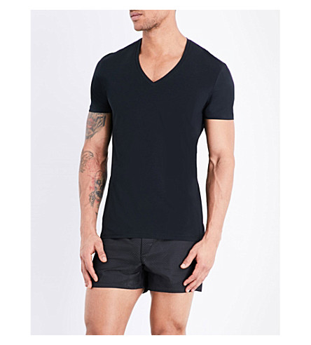 LA PERLA Seamless v-neck t-shirt (Black