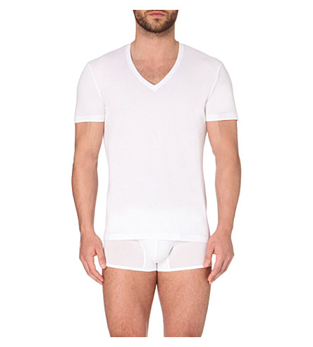 LA PERLA Seamless V-neck T-shirt (White